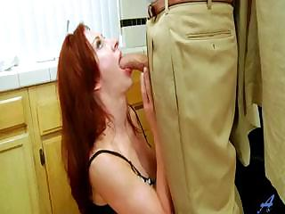 young redhaired lady banged into shoes