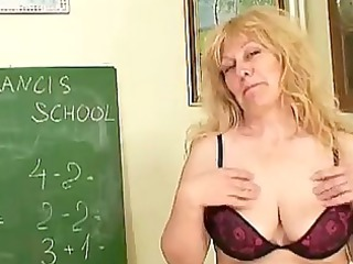 cougar blonde professor with giant tits inserting