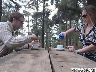 lactating amateur woman outside teaparty
