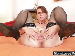 young milf lora with large real tits and vibrator