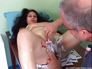 sexy older  latin acquires her kitty clean