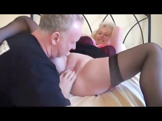 blonde grandma in brown pantyhose obtains some