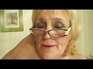saggy boobed old into glasses and pantyhose fucks
