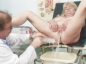 blond grandma rooty pussy exam with enema