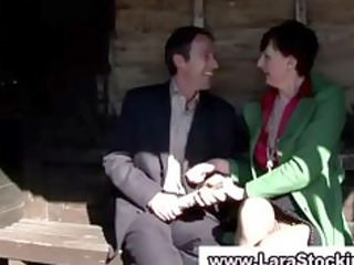 older lady into nylons touches herself