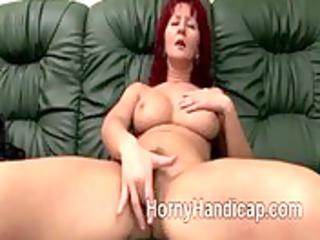 heavy older  redhaired bitch enjoys herself