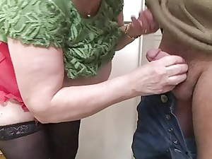 naughty granny into stockings and glasses bangs