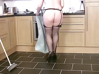 thick mature wife cleans and cums