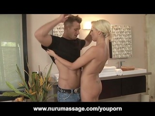 blond mature babe nuru massage turns in dick