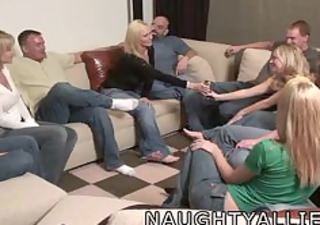 party game leads to a large group fuck swinger