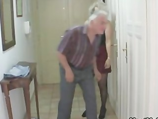 guy caught his bitch with his older milf and dad