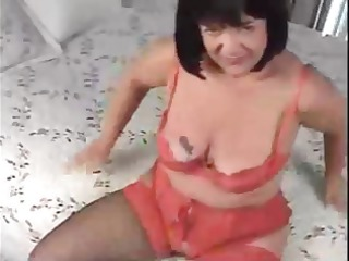 chubby brunette milf gets banged from behind and