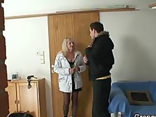 albino grandma inside brown stockings fucks