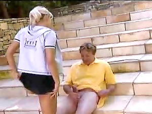 albino amateur butt outdoor with mature man by