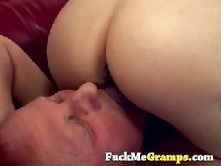 blonde tiffany banged elderly grandpa