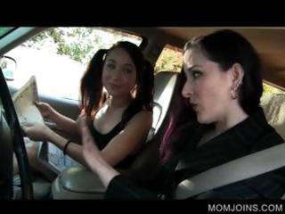 sexy milf and daughter talked inside drilling