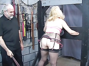 busty, grown-up blond takes her butt whipped into