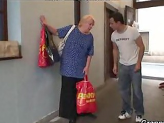 lustful fresh guy copulates granny blonde slut