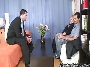 hunk and elderly boy shares grannys oral and cave
