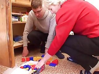 irina with man and toys