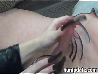 housewife gives playing handjob with long