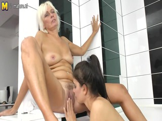 granny grandma teaching young angel a lesbo adore