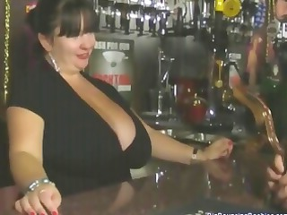 fat european mature barmaid with huge chest takes
