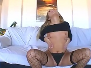 bleached woman masturbates in g-string