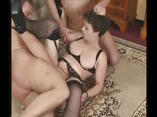 grownup woman into nylons tries triple libidos
