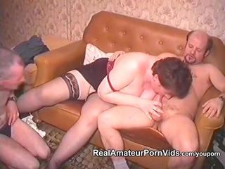 older  fat wife is pierced by two boys