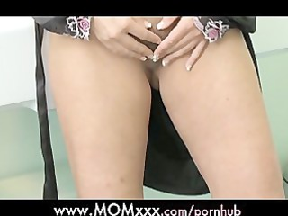 milf bored woman shaves her furry cave