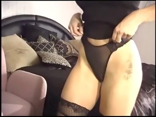 naughty pale lady piercing into ebony nylons
