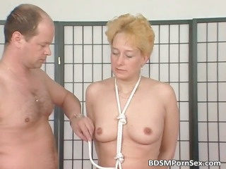 mature babe albino takes breast tied inside this