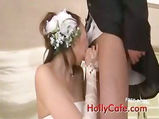 grownup brides drinking white cream funny
