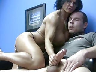big tits lady handjob