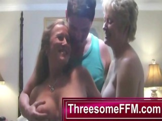 luckiy male piercing two older ladies -