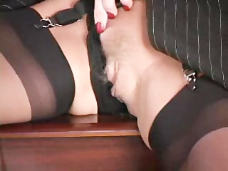 naughty lady plays with vibrator