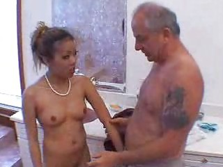 grandpa blown by awesome asian lady into shower 3